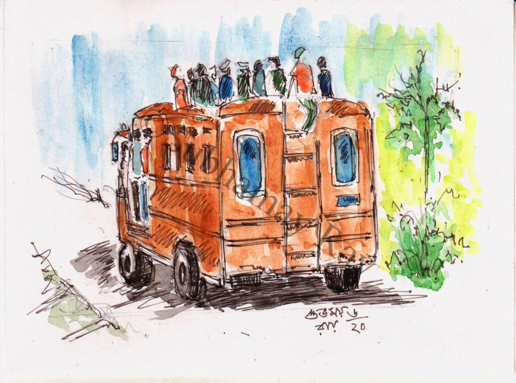 watercolor sketch of overcrowded bus
