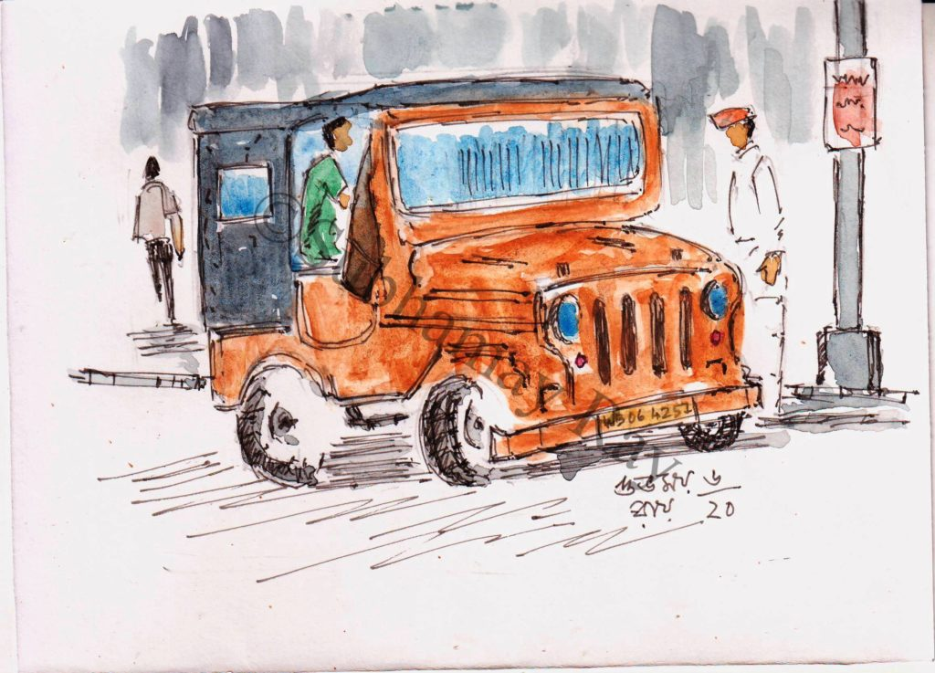jeep drawing watercolor