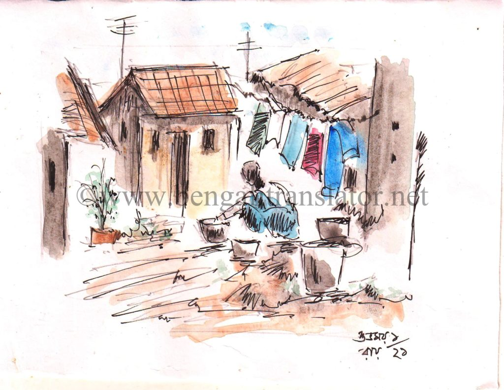 woman washing linen - water colour sketch